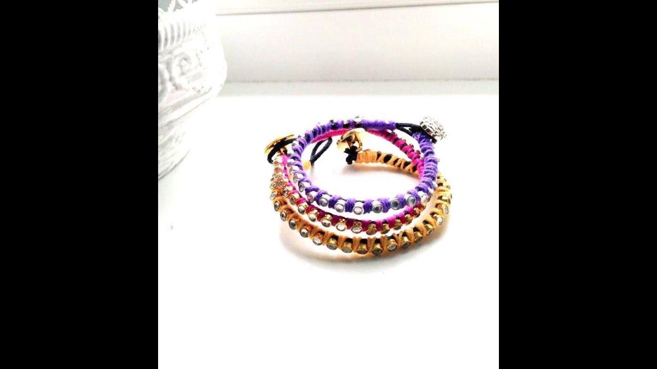 fbb54808a طريقة عمل أساورالخيوط بالخرز :DIY how to make bracelets - YouTube