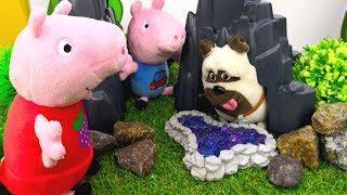 Свинка Пеппа на русском. Пеппа, Джордж и собачка заблудились в лесу! Песик помогает свинкам