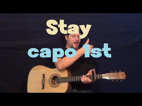 Stay (Florida Georgia Line) Easy Strum Guitar Lesson How to Play Capo 1st Fret