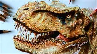 Drawing T. Rex - 3D art  technique - Time Lapse