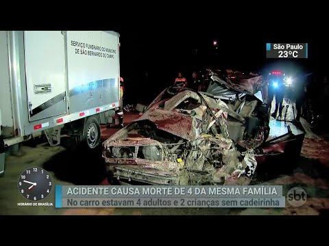Acidente entre carro e ônibus mata quatro pessoas da mesma família em SP | SBT Brasil (11/06/18)
