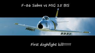 dcs world   f 86 sabre vs mig 15 bis first dogfight win