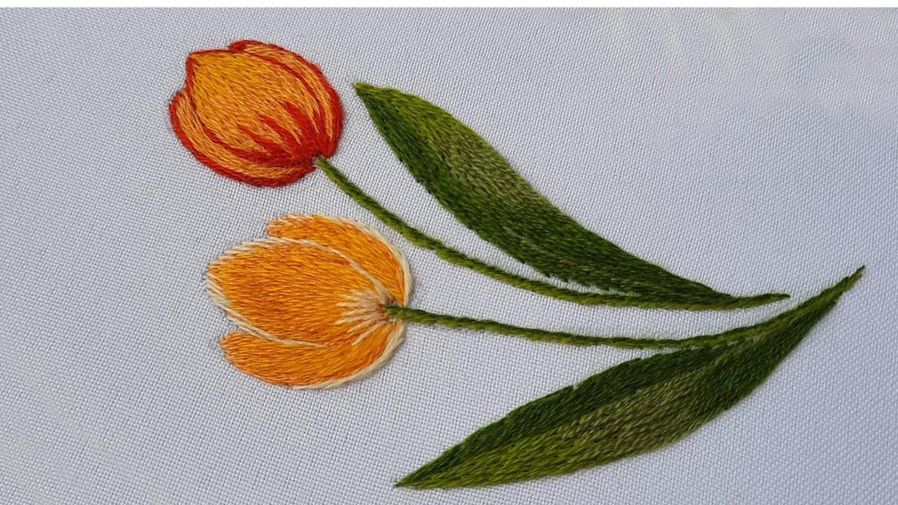 Hand Embroidery | Tulips made of wool | Long and short stitches