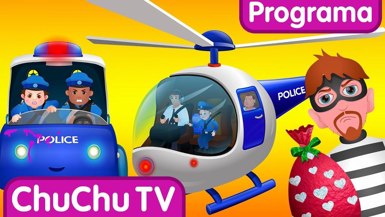 ChuChu TV Huevos Sorpresas de Policías – Episodio 04 - La persecución en Helicóptero