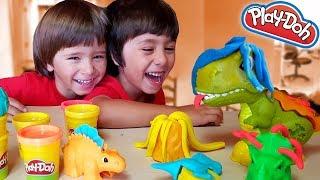REX EL DINOSAURIO y DINO-HERRAMIENTAS de PLAY DOH con Dani y Evan! thumbnail