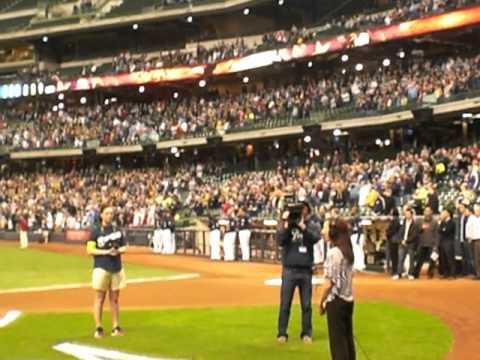 Megan Besler singing National Anthem for Milwaukee...