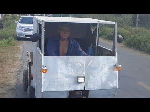 Lão nông 68 tuổi chế xe lấy rác ở Trà Vinh