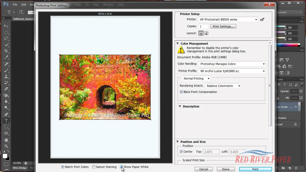 Use Printer Profiles Photoshop CS6 HP Inkjet Printers Windows
