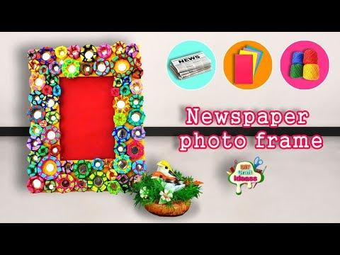 Newspaper photo frame    DIY craft Ideas best out of waste-Newspaper photo frame-DIY photo Frame