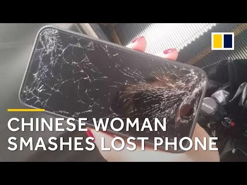 Chinese woman smashes lost phone on ground when reward is denied