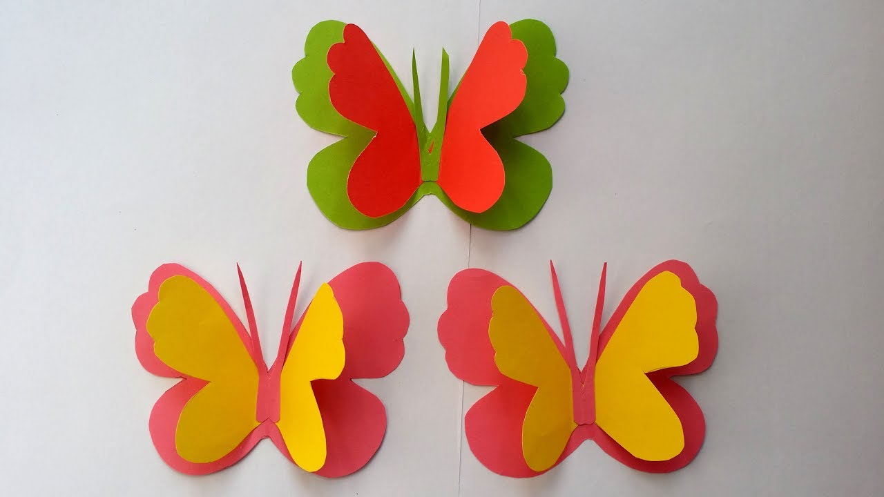 How to Make Easy & Simple Butterfly With Colour Paper ...