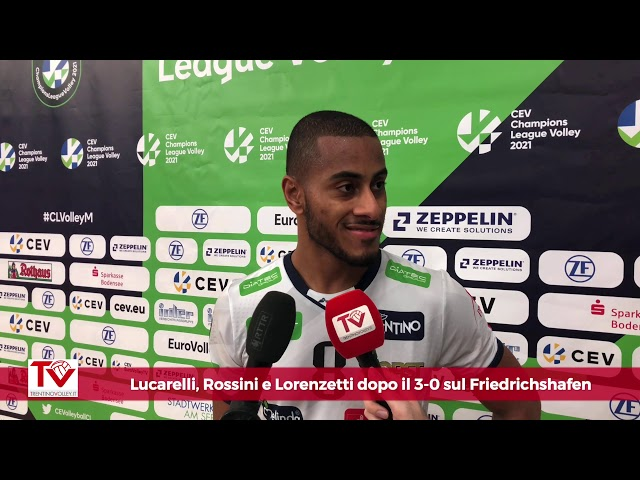 Lucarelli, Rossini e Lorenzetti dopo il 3-0 in Champions sul Friedrichshafen