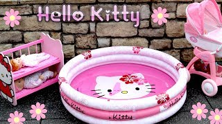 Hello Kitty Dolls Stroller Pram Bunkbed & Swimming Pool Nurs...