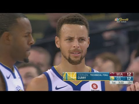 Stephen Curry Confusing Technical Foul! Warriors Cruise By Heat! 2017-18 Season