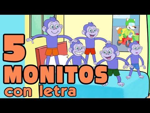 5 MONITOS SALTABAN EN LA CAMA canción letra karaoke español CANCIONES INFANTILES