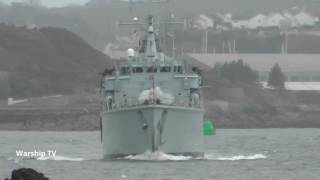HMS HURWORTH M39 ENTERS DEVONPORT AT ARTILLERY TOWER, WESTERN KING BATTERY - 3rd March 2017