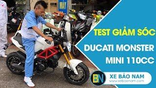 Xe máy Ducati Monster Mini 110cc 2 New đời mới ► Test giảm sóc Upside down và ngồi 2 người