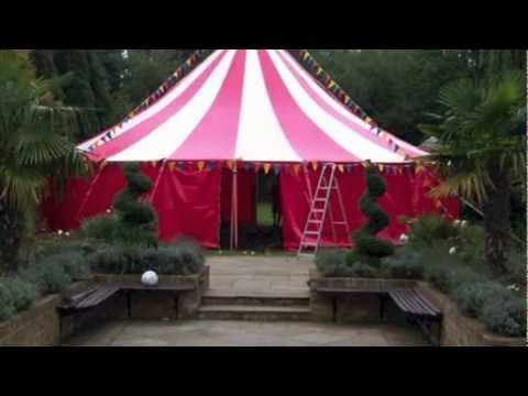 Marquee Hire:12m round,Red & White candy striped tent