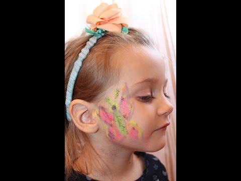 Аквагрим БАБОЧКА. Рисунки на лице: Мастер Класс от Мамы Юли.makeup For The Face. 画一个小丑脸画一只蝴蝶