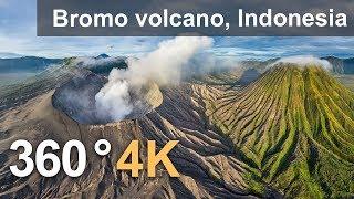 360°, Bromo volcano, Java, Indonesia, 4K aerial video thumbnail