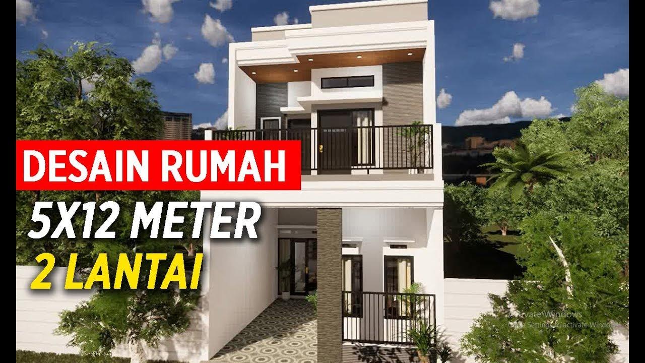 Desain Rumah Renovasi 5x12 Meter 2 Lantai - YouTube