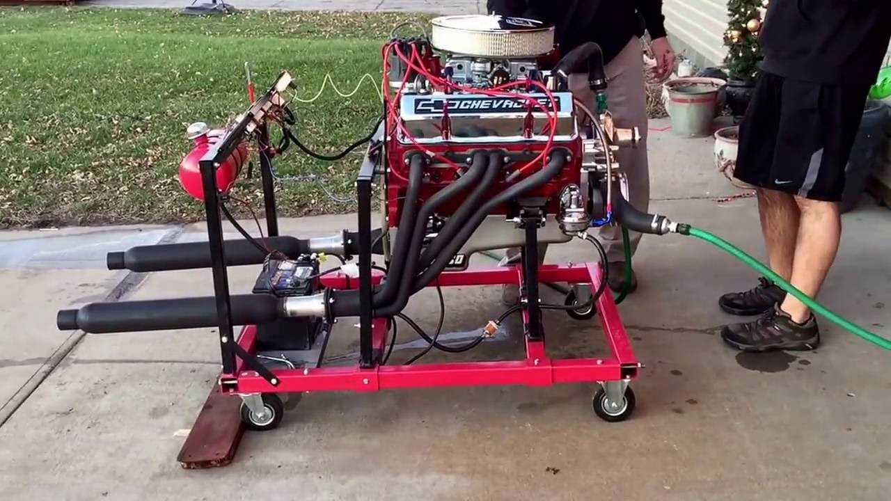 built sbc small block Chevy on test stand YouTube