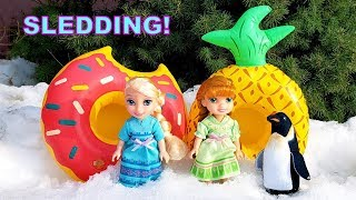 Frozen Elsa and Anna Go Sledding with Pool Floaties!