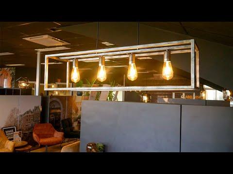 Industriële hanglamp Brushed Cube 4-lichts oud zilver