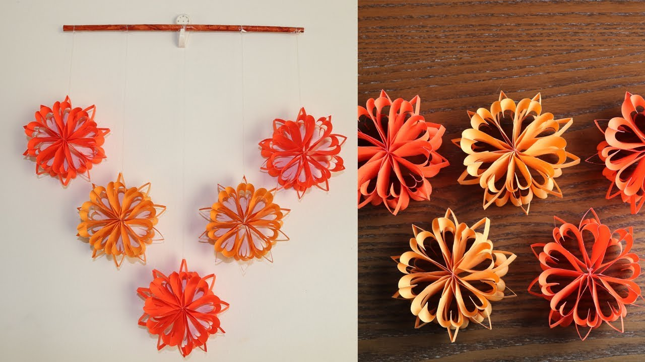 Awesome Simple Paper Flower Wall Hanging  DIY Paper Craft   Wall Decoration Ideas