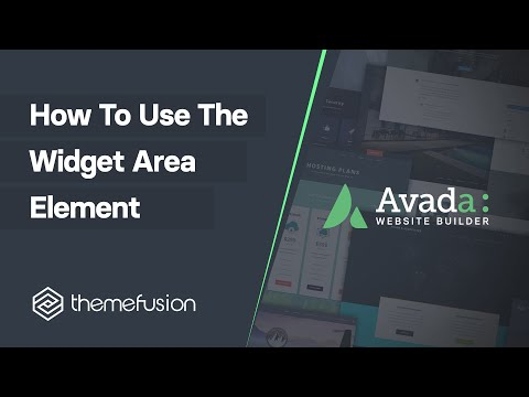 How To Use The Widget Area Element Video