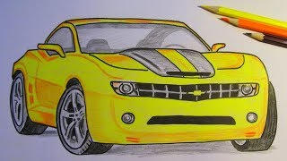 How To Draw and Color Bumblebee Chevrolet Camaro Transformers