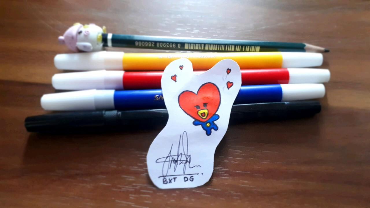 Cara menggambar TATA (how to draw TATA)#bt21 - YouTube