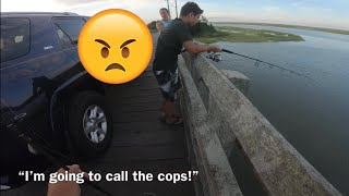 CRAZY KAREN tries to kick us OFF a PUBLIC BRIDGE while fishing!