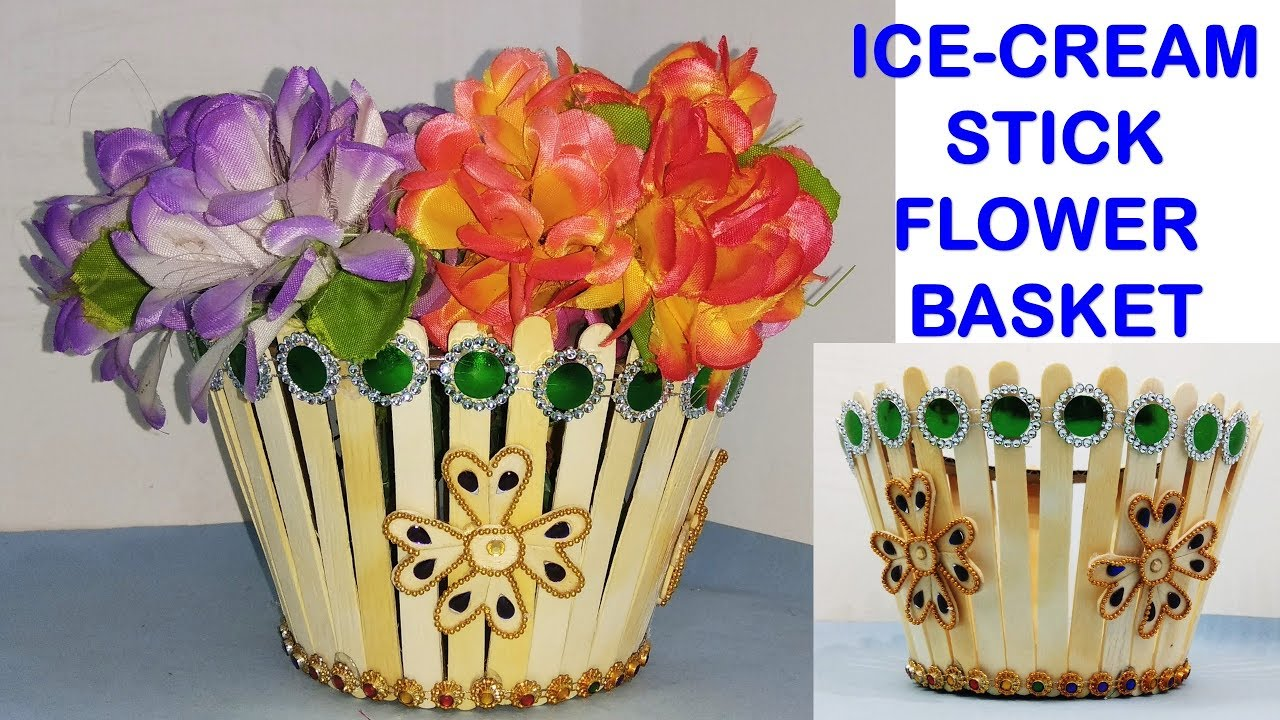 Flower Basket Making With Popsicle Stick Diy Home Decor Craft Youtube