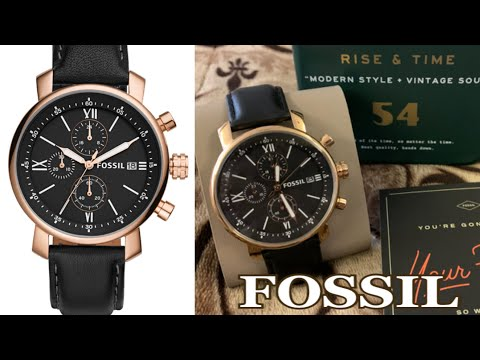 FOSSIL MEN'S RHETT CHRONOGRAPH BLACK LEATHER WATCH | BQ1008P | BRANDS GOT SIGNATURE BY AN KLEH