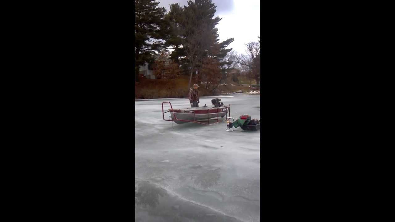 Jon deminstrating how the ice scratcher boat works youtube for Ice scratcher boat motor for sale