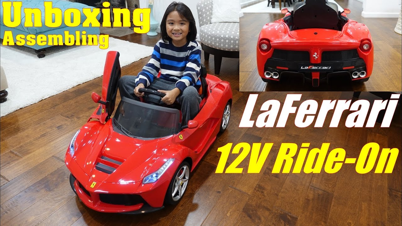 Power Wheels Rc 12 Volts Ride On Car La Ferrari Supercar Unboxing Assembling And Playtime Youtube