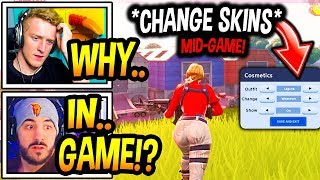 "Streamers React To *NEW* ""SKIN CHANGER"" IN-GAME Option In Fortnite! (BROKEN!) Fortnite Moments"