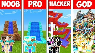 Minecraft : FAMILY WATER PARK BUILD CHALLENGE - NOOB vs PRO vs HACKER vs GOD in Minecraft Animation