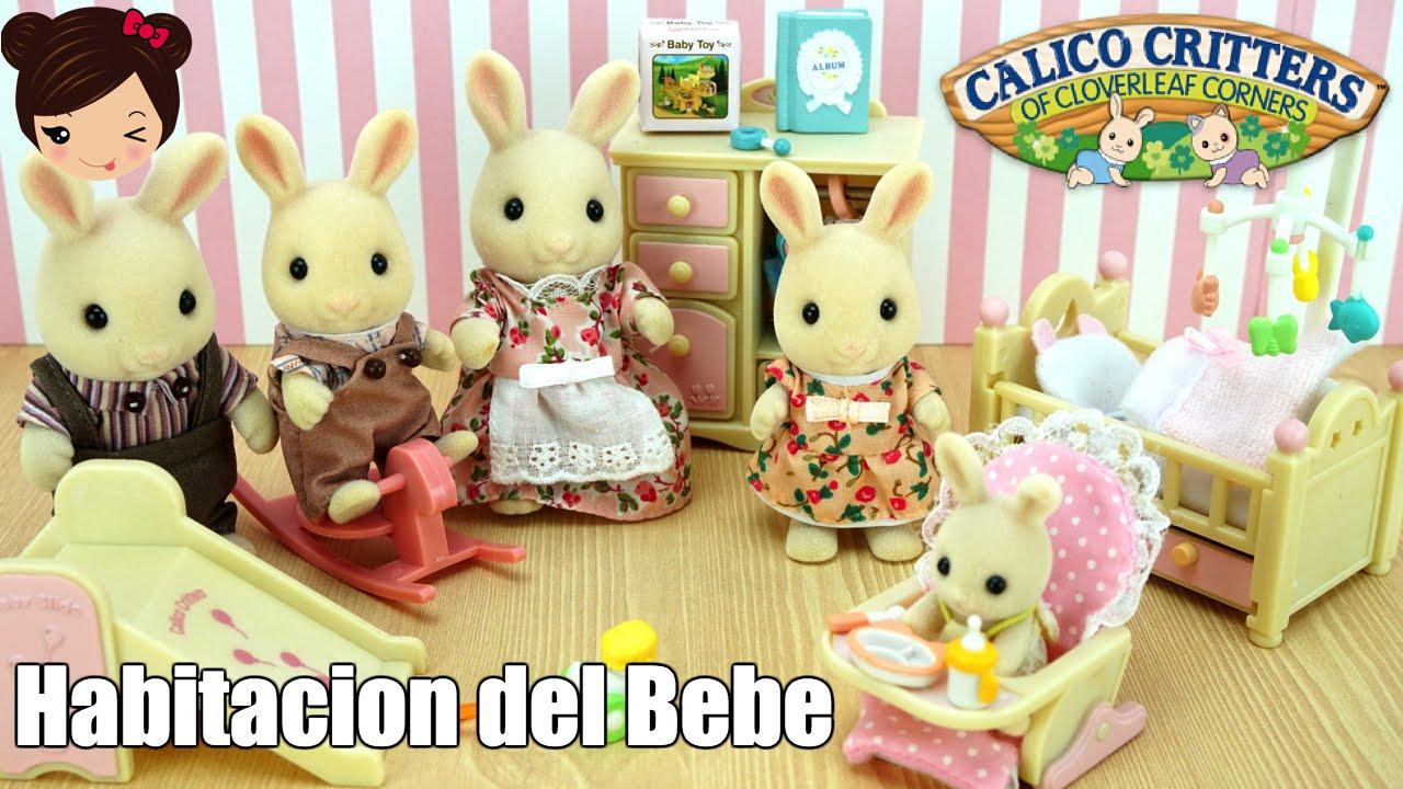 Habitacion del mueco bebe Calico Critters y su Familia Conejos