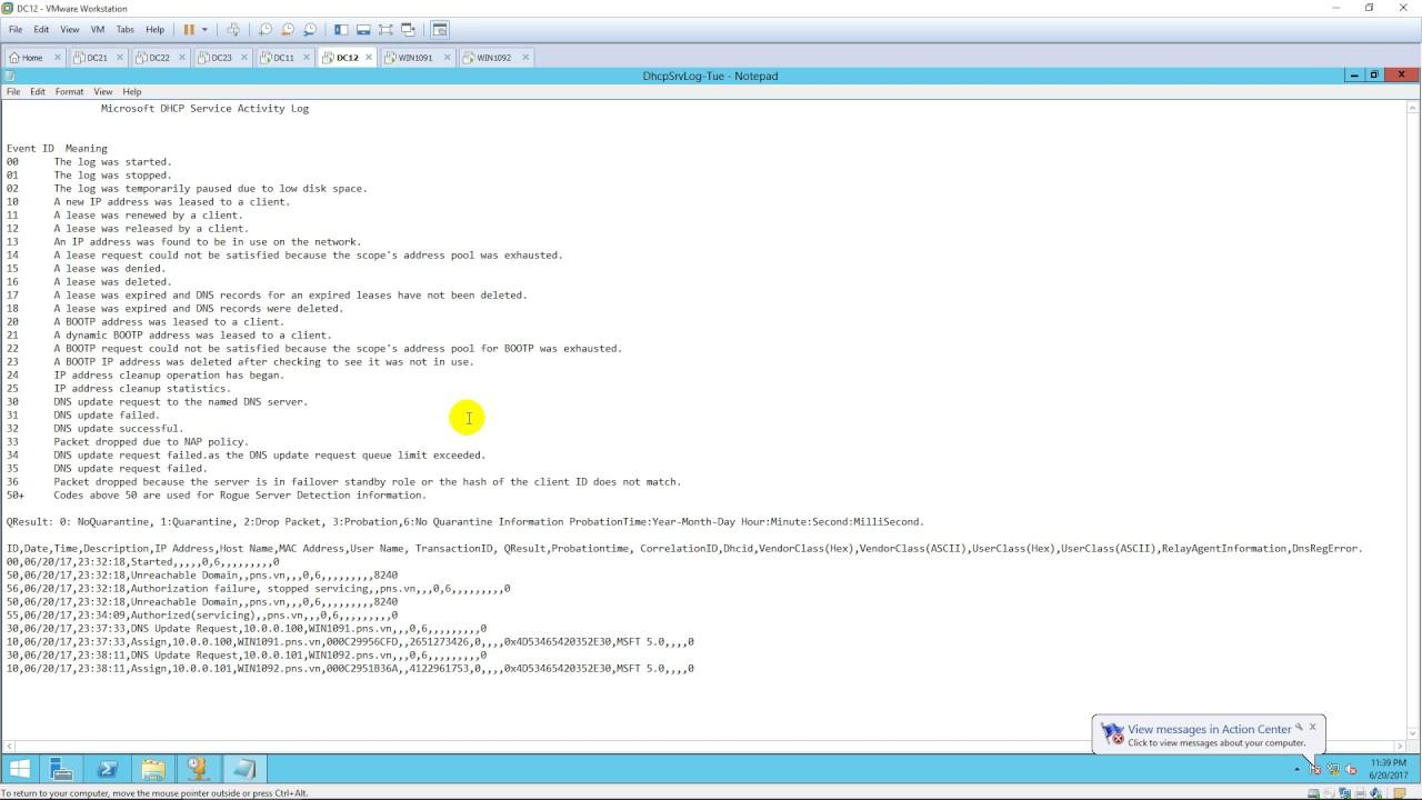 Audit DHCP Server log running Windows Server 2012 R2