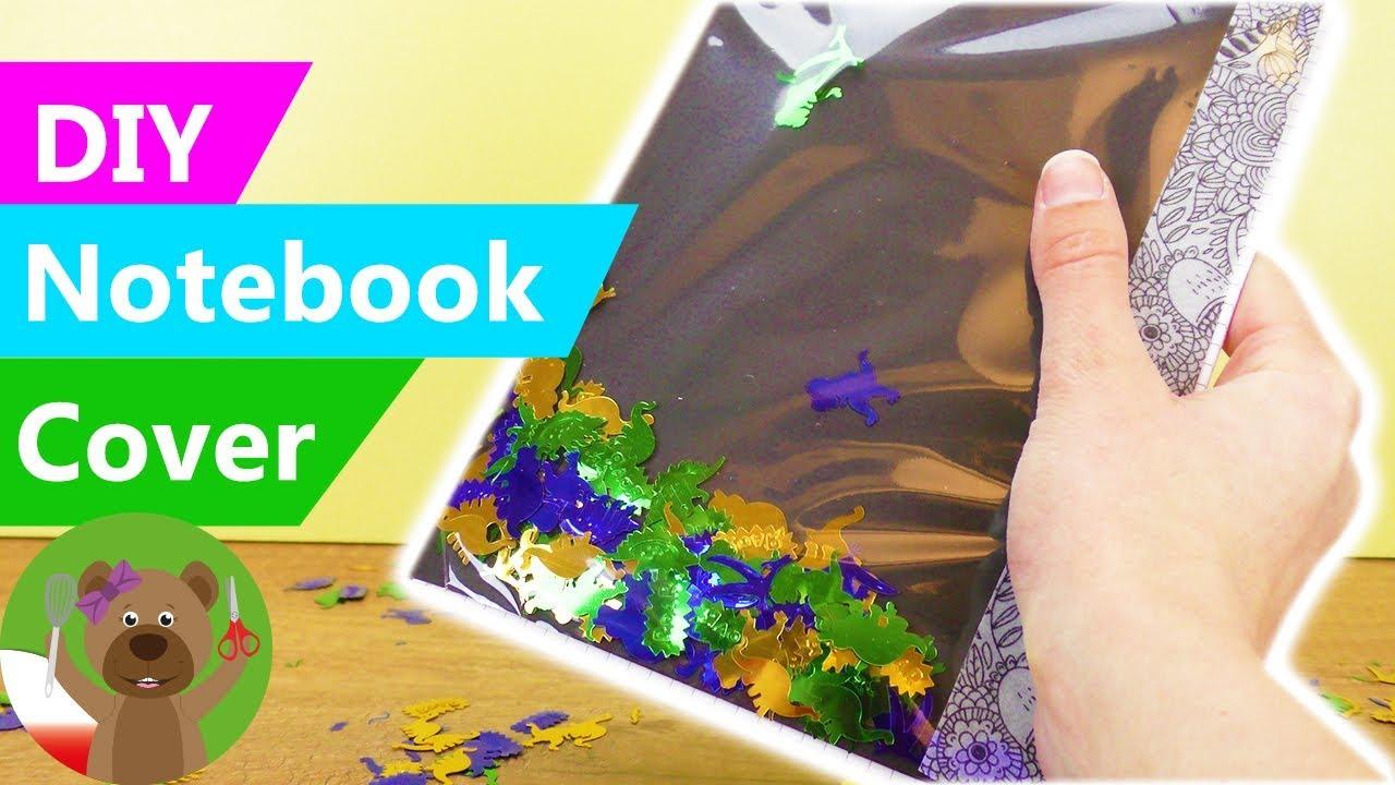 DIY Notebook Cover | okładka zeszytu z błyszczącymi dinoraurami | DIY przybory szkolne