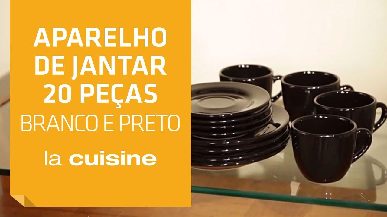 Aparelho de Jantar 20 Peças Branco e Preto La Cuisine Shoptime  #C38408 1920x1080