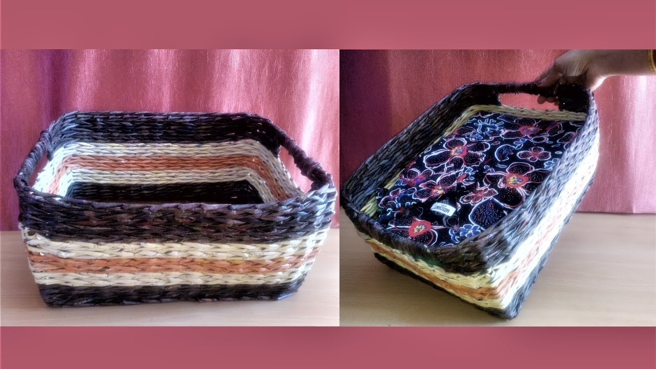 How To Make A Newspaper Basket With Top : How to make basket with newspaper weaving tutorial
