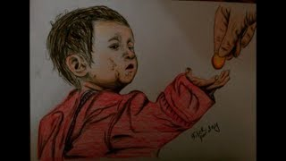 Drawing Street Kid Begging Money For Fulfilling His Hunger - Full video