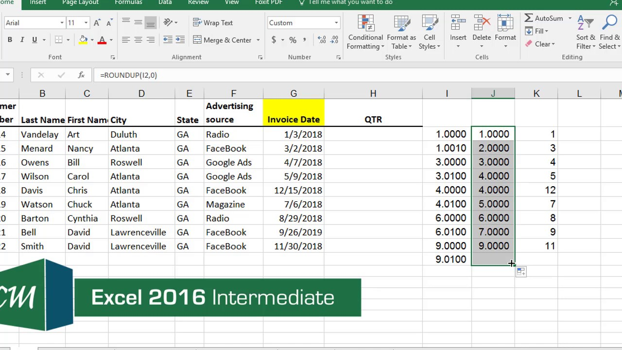 Find the Quarter from a date in Excel by Chris Menard