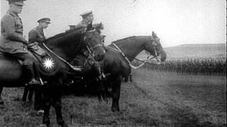 King George V and Queen Mary of the United Kingdom review Canadian troops in Belg...HD Stock Footage
