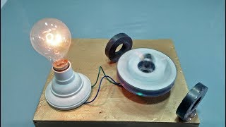 Free Energy Generator homemade with Magnet and Motor + Nutt Output 220 Volts Light Bulb