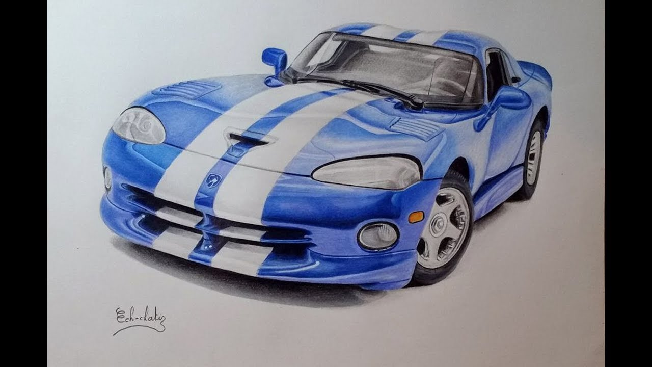 How To Draw A Car Dodge Viper Blue