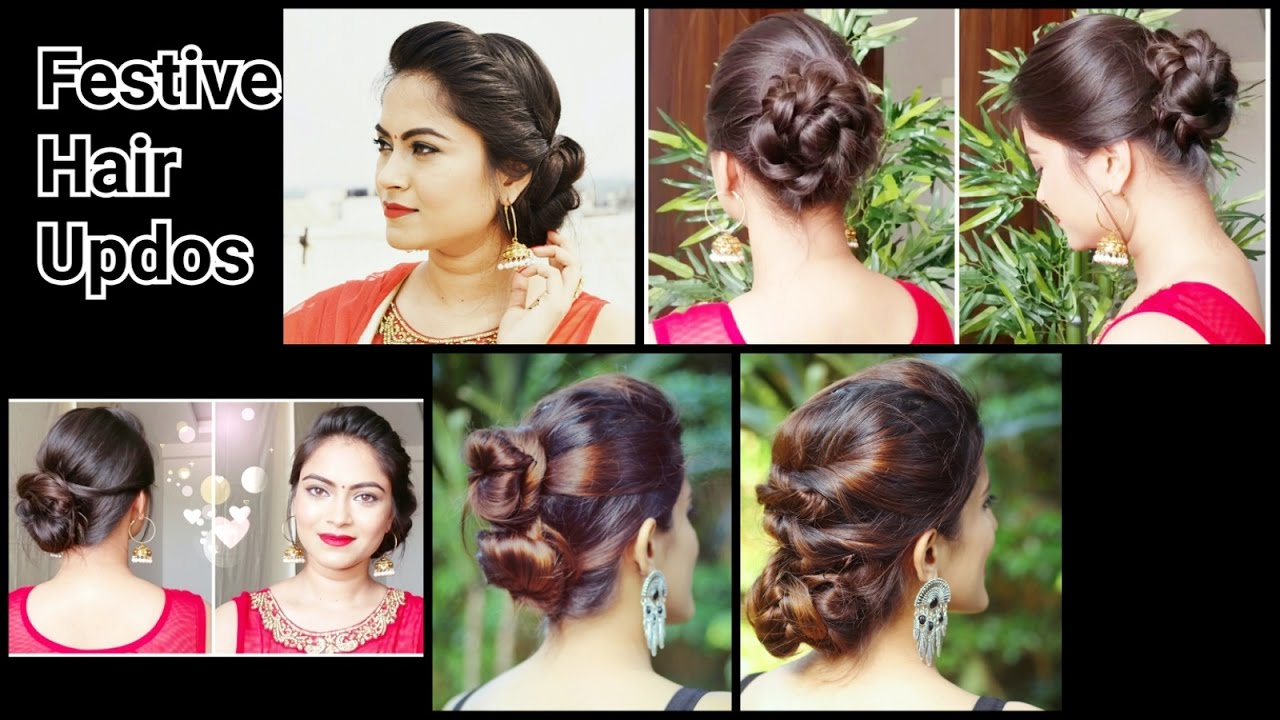 Different hairstyles to try with sarees - 2 Quick Easy Indian Bun Hairstyles For Saree Anarkali Lehnga Party Hairstyles For Medium Long Hair Youtube